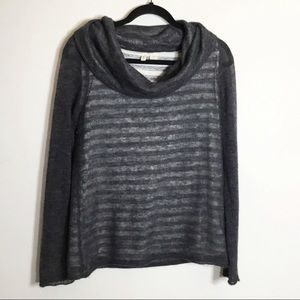 Anthro Moth Striped Cowl Neck Sweater